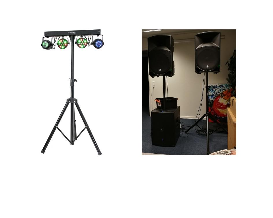 Stor lyd- og lyspakke med lyseffekt, højttalere og subwoofer